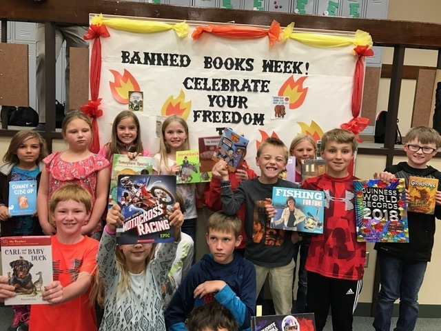 4th graders celebrating their freedom to read during Banned Books Week!