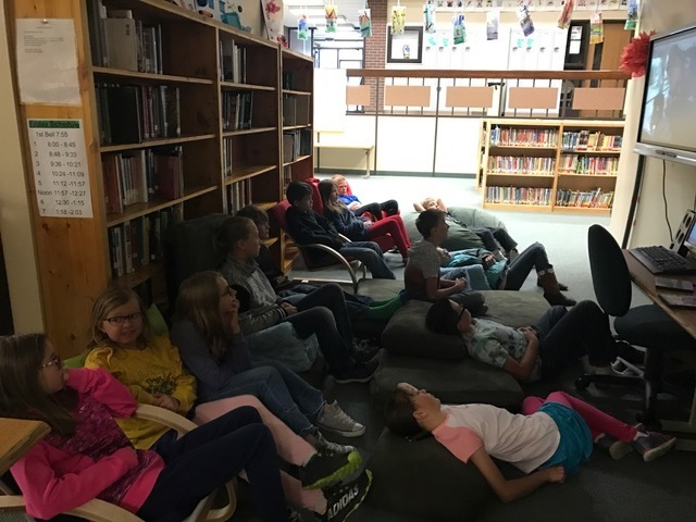 4th graders enjoying a movie